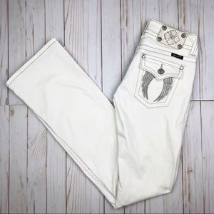 Miss Me White Jeans Angel Wing Embellished Bootcut